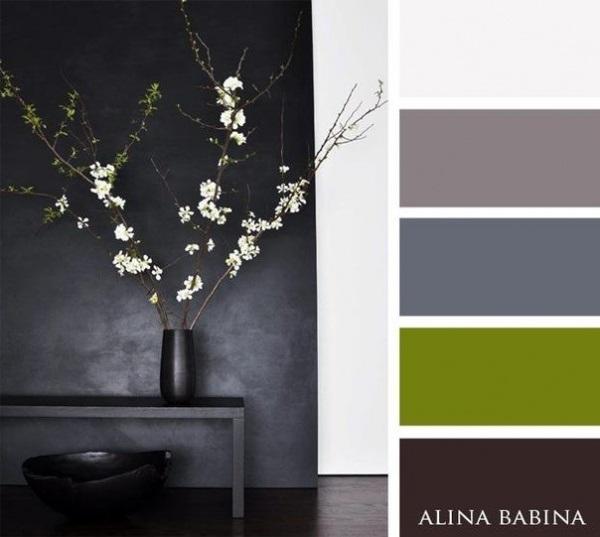 17-combinatii de culori cu alb negru si verde olive