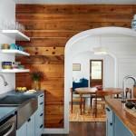 17-perete placat cu scandura din lemn decor bucatarie