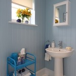 18-interior baie pereti placati cu lambriu bleu casa mica din lemn 40 mp