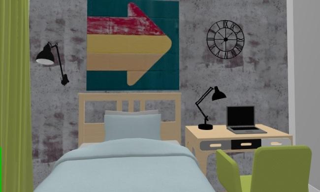 18-pat si birou camera copil dormitor mic