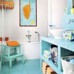 19-baie vesela decorata in alb si turcoaz cu accente portocalii