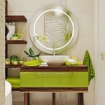 19-mobila lavoar si oglinda perete baie mdoerna decorata in verde maro alb si gri