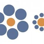2-Iluzia optica Ebbinghaus cercuri portocalii in ipostaze diferite