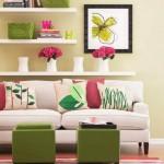 2-accente colorate roz si vernil decor living mic si modern