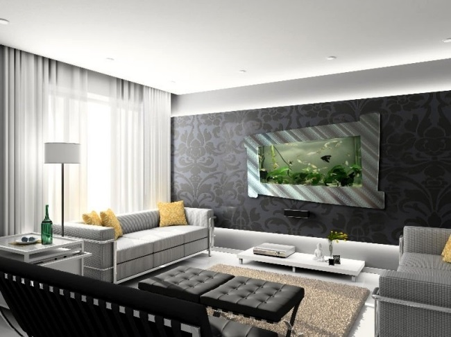 2-acvariu cu pesti integrat in perete living modern
