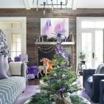 2-amenajare living de Craciun in alb gri argintiu lila si violet