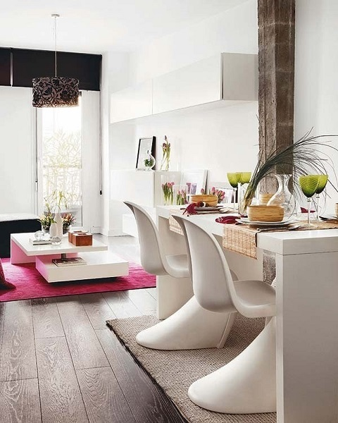 2-amenajarea unui loc de luat masa in living lung si ingust