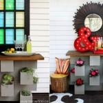 2-aranjamente florale decorative pentru terasa din boltari prefabricati din beton