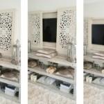 2-ascundere ecran tv in spatele unor panouri decorative din lemn amenajare stil marocan
