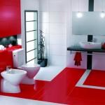 2-baie amenajata in stil modern gresie si faianta alba si rosie