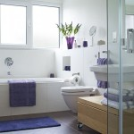 2-baie mdoerna gresie maro si faianta alba accesorii violet