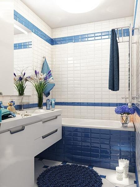 2-baie mica de apartament amenajata cu faianta metro alb cu albastru idei 2019