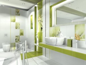 2-baie moderna decorata in alb si vernil
