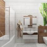 2-baie moderna in alb si maro cu faianta cu imprimeu bambus