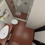 2-baie moderna mica cu cabina de dus fara cadita cu paravan din sticla