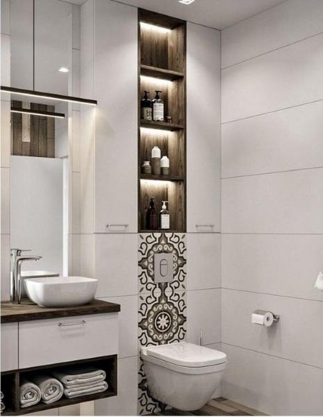 baie moderna obiecte sanitare suspendate decor minimalist