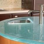 2-blat gros de forma rotunda din sticla securizata bucatarie moderna