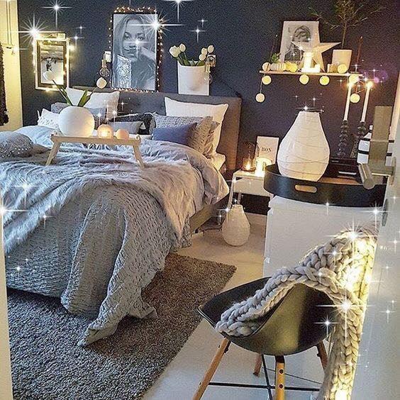 2-bogatie de textile in amenajarea unui dormitor romantic in nuate de gri si bleumarin
