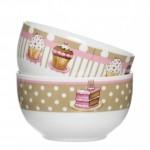 2-bol cereale cup cake decorat in alb bej si roz magazin kika
