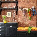 2-bucatarie amenajata in stil industrial vintage pereti placati cu caramida bruta nefinisata