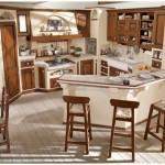 2-bucatarie inzidita stil rustic cu bar si scaune inalte