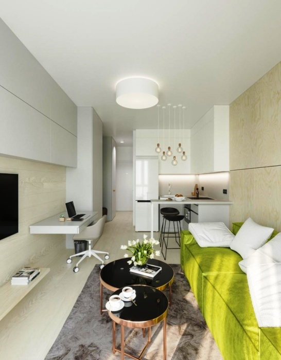 bucatarie living open space garsoniera amenajare stil minimalist
