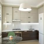 2-bucatarie moderna mica cu mobila bicolora si masa de sticla