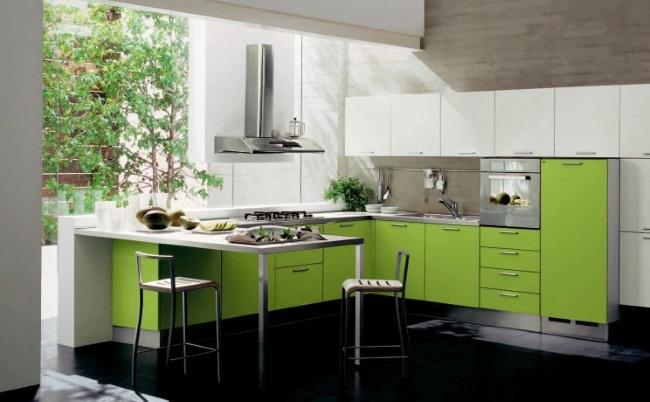2-bucatarie moderna mobila forma litera L alb si vernil