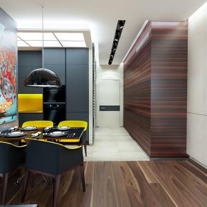 2-bucatarie moderna open space mobila neagra accente cromatice galbene