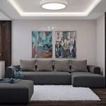 2-canapea gri living modern gri si maro cu accente bleu