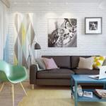 2-canapea gri si accesorii colorate decor living apartament mic 45 mp