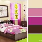 2-combinatii culori dormitor bej cu roz fuchsia maro inchis si vernil