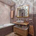 2-combinatii de faianta gresie si mozaic in nuante de bej amenajare baie moderna
