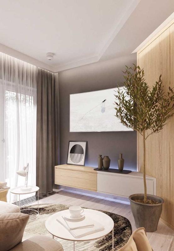 comoda 2 sertare bicolora suspendata perete living
