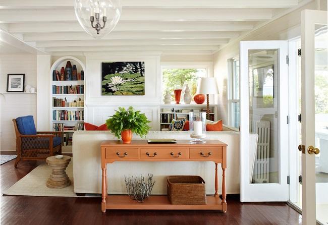 2-consola cu sertare montata in spatele canapelei din living