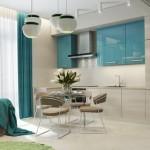2-corpuri inferioare furnir lemn si dulapuri superioare bleu lucioase bucatarie moderna