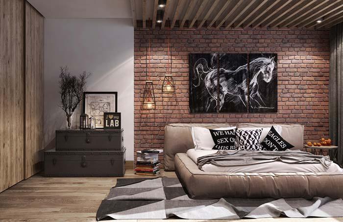 2-dormitor accente vintage perete caramida aparenta
