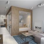 2-dormitor amenajat intr-un cub din lemn garsoniera de 30 mp