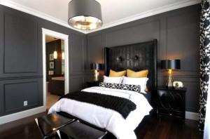2-dormitor clasic amenajat in nuante de gri negru si alb