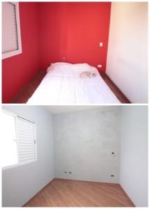 2-dormitor cu pereti rosii si apoi cu pereti albi