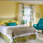 2-dormitor frumos si elegant decorat in galben alb si accente turcoaz