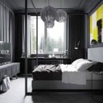 2-dormitor matirmonial complet gri cu un tablou de accent galben