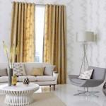 2-draperii aurii cu imprimeu floral decor living gri