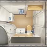 2-exemplu amenajare baie moderna ergonomica cu obiectele sanitare pe o singura latura