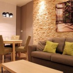 2-exemplu finisare perete living modern cu piatra decorativa reconstituita