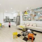 2-faianta patchwork in decorul bucatariei si livingului open space