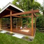 2-foisor de lemn cu design modern si loc de joaca pentru copii