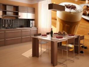 2-fototapet cu un pahar de cappuccino decor bucatarie moderna