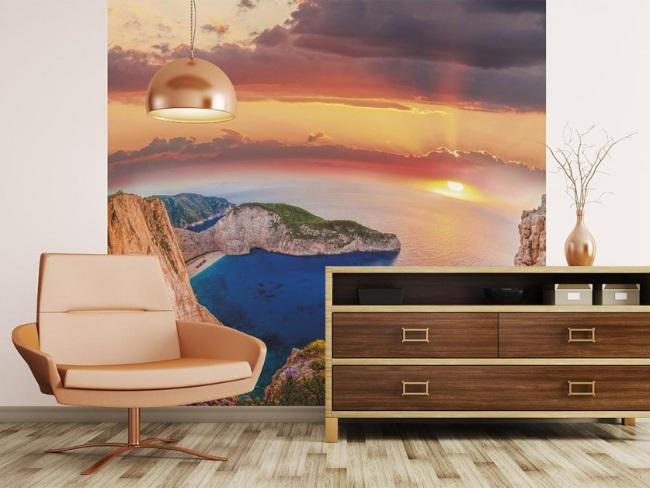 2-fototapet panoramic cu o plaja celebra din Grecia