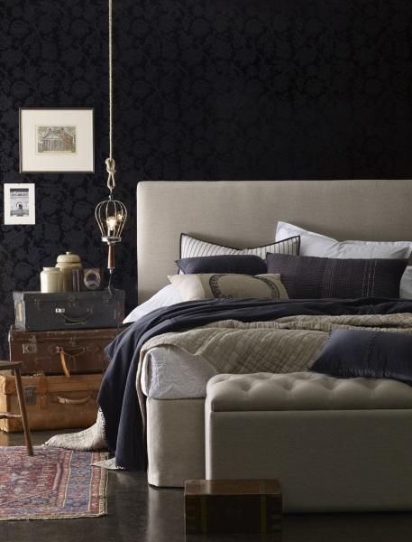 2-idei amenajare dormitor in nuante inchise de gri si negru